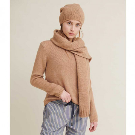 Basic Apparel Halstørklæde, Marnie scarf, Camel Melange look med marnie hue