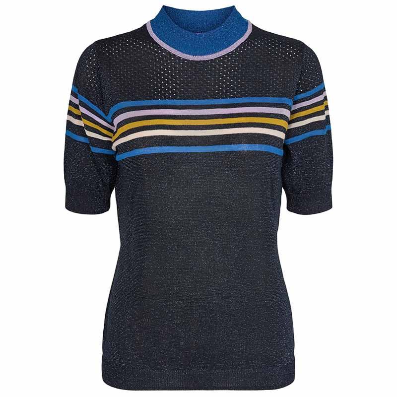 Nümph Bluse, Nucarwen Pullover SS, Dark Sapphire Numph strik bluse