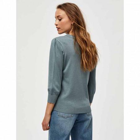 Minus Bluse, Mersin, Blue Zen Melange Minus tøj Minus strik bluse på model set bagfra