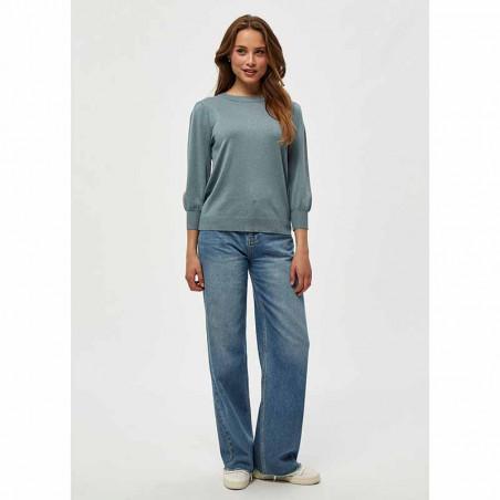 Minus Bluse, Mersin, Blue Zen Melange Minus tøj Minus strik bluse på model - look