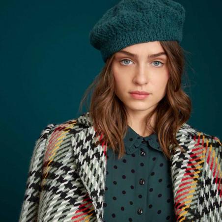 King Louie Hat, Ophelia, Pine Green Strikket hat på model