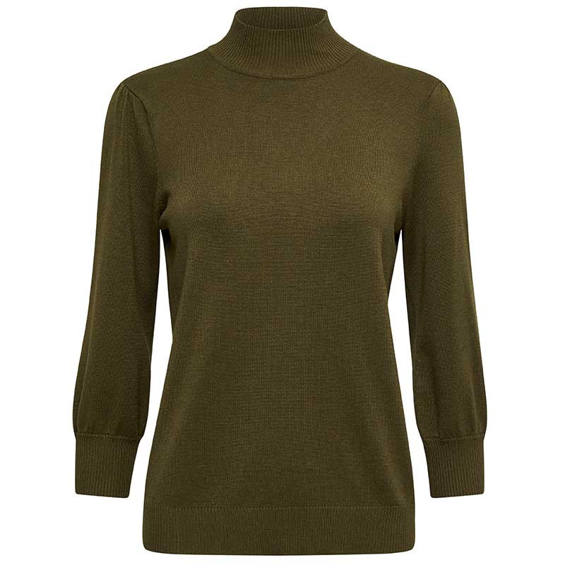 Minus Bluse, Mersin Roll Neck, Dark Olive Melange Minus tøj