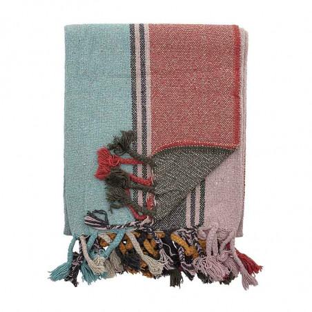Bloomingville Plaid, Serena, Rød Multi, multifarvet, tæppe, bolig, frynser