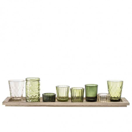 Bloomingville Lysestager, Sanga, Grøn Glas Sæt m/9, bakke, fyrfadslys, dekoration