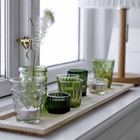 Bloomingville Lysestager, Sanga, Grøn Glas Sæt m/9, bakke, fyrfadslys, dekoration, interiør