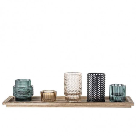 Bloomingville Lysestager, Sanga Bakke, Blå Glas Sæt m/6, fyrfadslys, dekoration