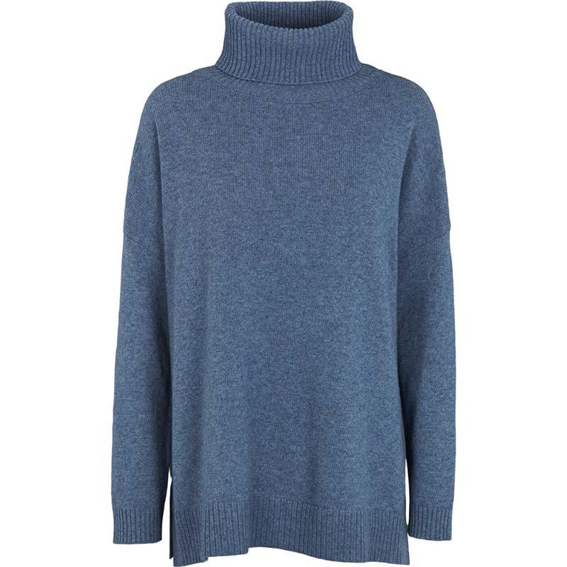 Basic Apparel Strik, Line T-neck, Blue Shadow, sweater, rullekrave, oversize, støvet blå