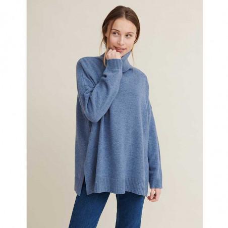 Basic Apparel Strik, Line T-neck, Blue Shadow, sweater, rullekrave, oversize, støvet blå, model