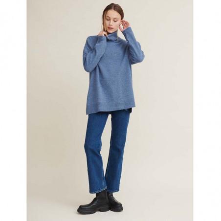 Basic Apparel Strik, Line T-neck, Blue Shadow, sweater, rullekrave, oversize, støvet blå, outfit