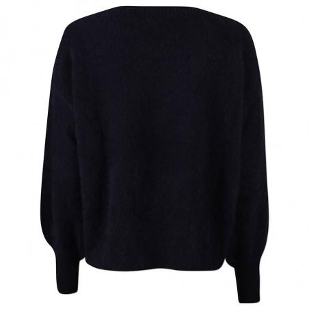 Six Ames Strik, Malou, Black, sweater, vaskebjørn, sort strikket sweater, detalje