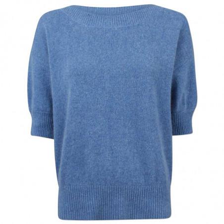 Six Ames Strik, Moi, Regatta, kortærmet sweater, støvet blå, bådudskæring