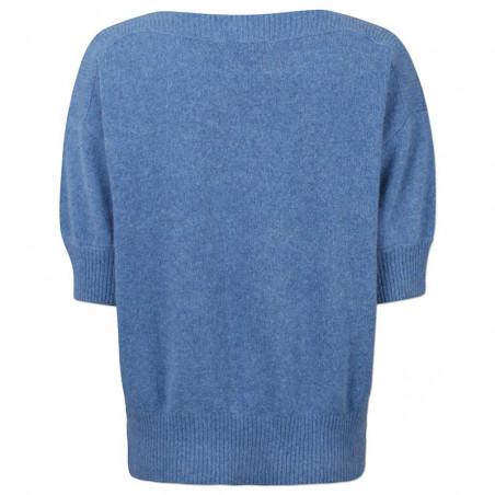 Six Ames Strik, Moi, Regatta, kortærmet sweater, støvet blå, bådudskæring, detalje