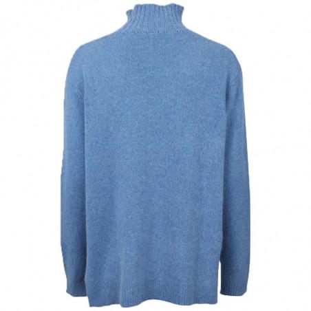 Six Ames Strik, Jade, Regatta, sweater, rullekrave, høv krave, dropped shoulders, blå