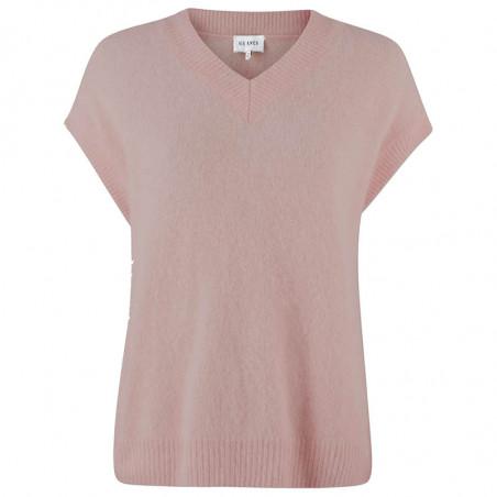 Six Ames Vest, Milli, Adope Rose, strikvest, oversize, drop shoulders, støvet rosa