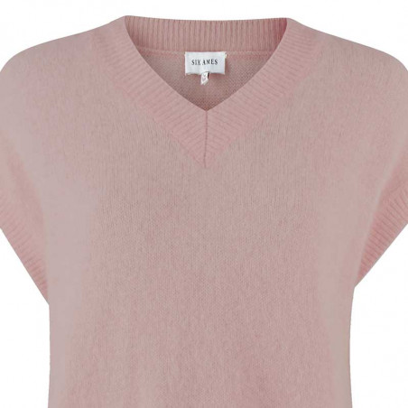 Six Ames Vest, Milli, Adope Rose, strikvest, oversize, drop shoulders, støvet rosa, v-hals