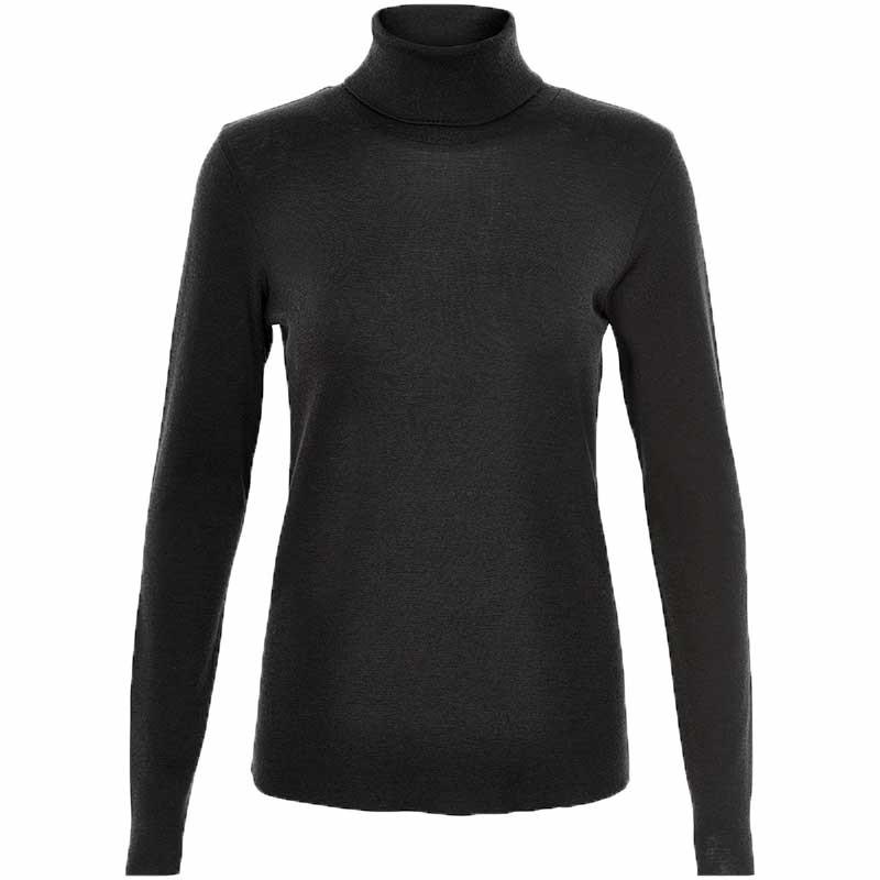 Six Ames Strik, Wendy, Black, rullekrave, turtleneck, bluse, t-shirt, merinould