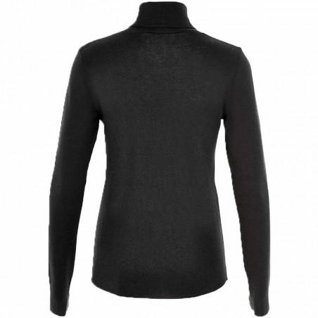 Six Ames Strik, Wendy, Black, rullekrave, turtleneck, bluse, t-shirt, merinould, detalje