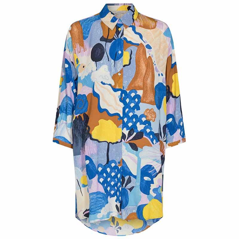 Nümph Skjorte, Nucicely, Princess Blue Numph bluse - storskjorte med print