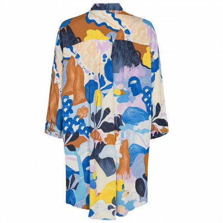 Nümph Skjorte, Nucicely, Princess Blue Numph bluse - storskjorte med print ryg