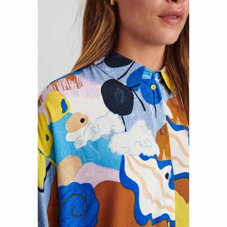 Nümph Skjorte, Nucicely, Princess Blue Numph bluse - storskjorte med print detalje