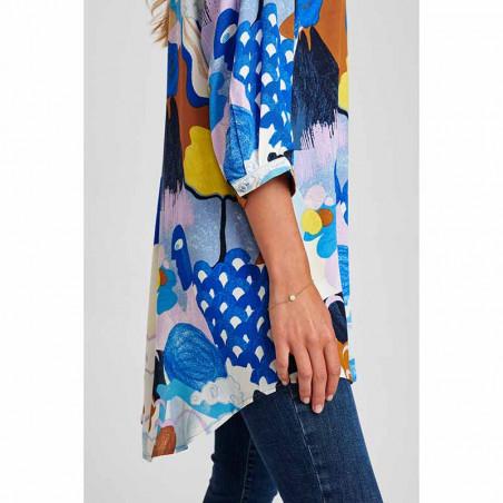 Nümph Skjorte, Nucicely, Princess Blue Numph bluse - storskjorte med print detalje side