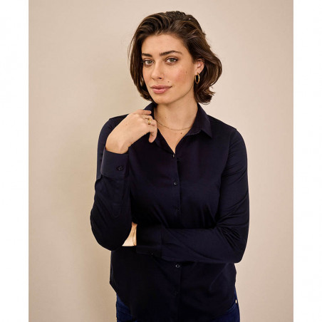 Mos Mosh Skjorte, Tina Jersey, Night Blue Mosmosh Basic jersey skjorte på model