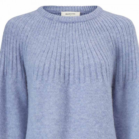 Modström Strik, Truce O-neck, Country Blue Modstrøm sweater - strik pullover detalje