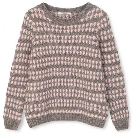Sibin Linnebjerg Strik, Asti, Sand/Baby Pink Sweater