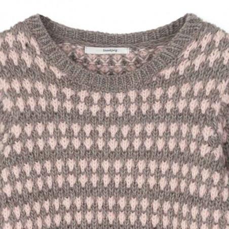 Sibin Linnebjerg Strik, Asti, Sand/Baby Pink Sweater detalje