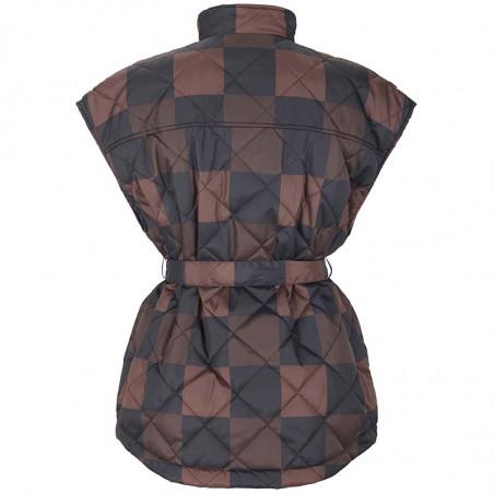 Soft Rebels Vest, SRSigrid Vest, Big Square Chocolate Quilted vest ryg