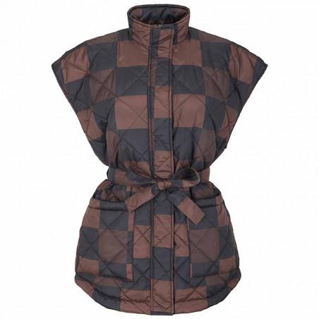 Soft Rebels Vest, SRSigrid Vest, Big Square Chocolate Quilted vest