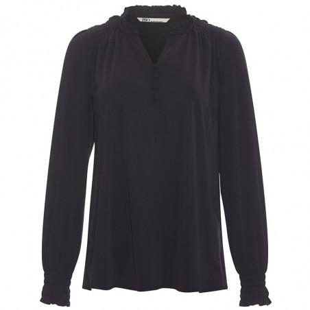 PBO Bluse, Luhan, Black, skjorte, skjortebluse, sort, v-udskæring