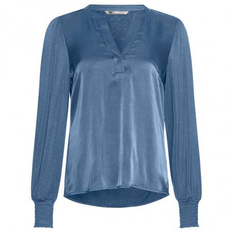 PBO Bluse, Pollipop, Orion Blue, silkebluse, viskosejersey, v-udskæring