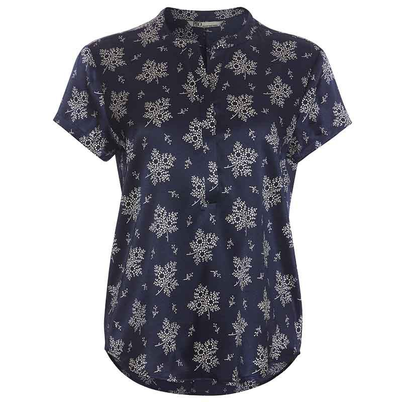 PBO Bluse, Blaine, Blue Irish, silkebluse, silketop, blomsterprint