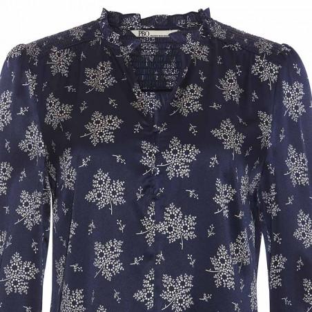 PBO Bluse, Luhan, Blue Irish, silkebluse, silkeskjorte, detalje