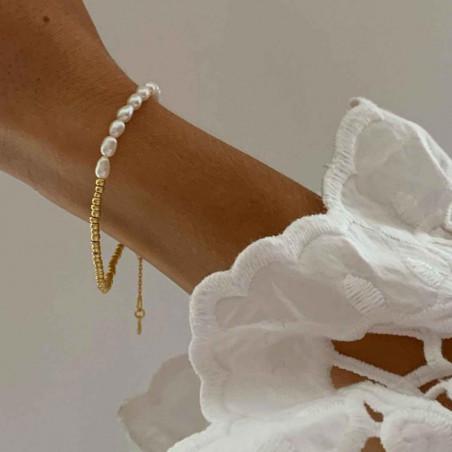 Hultquist Armbånd, Ella Plain, Guld, ferskvandsperler, guldbelagt, sterlingsølv, model