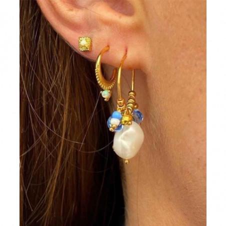 Hultquist Øreringe, Ocean, Gold/Blue, ferskvandsperler, glasperler, guldbelagt sterlingsølv, model