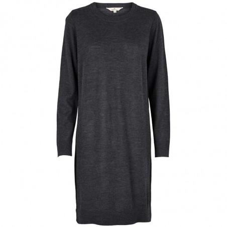 Basic Apparel Kjole, Vanja, Dark Grey Melange, strikket kjole, sweaterkjole, merinould
