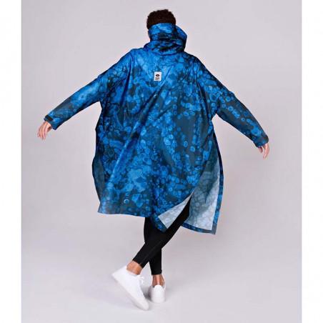 Rainkiss Regnjakke, Blue Bubbles Rain Poncho regntæt poncho - regnponcho regntøj set bagfra