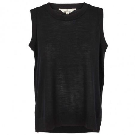 Basic Apparel Vest, Vera, Black, strikvest, merinould