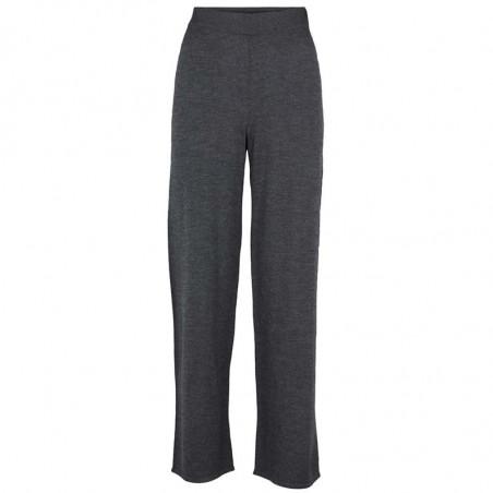 Basic Apparel Bukser, Vera Wide, Dark Grey Melange, strikbukser, hyggebukser, loungewear