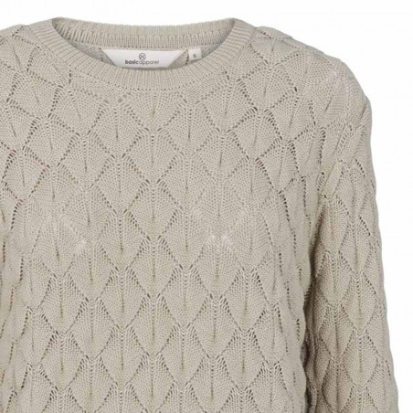 Basic Apparel Strik, Milla Sweater, Moss Gray, grøn trøje, striktrøje, hulstrik, detalje