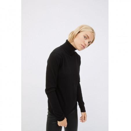 Soft Rebels Bluse, SRMarla Rollneck, Black Softrebels rullekrave bluse Sort Basis strik på model