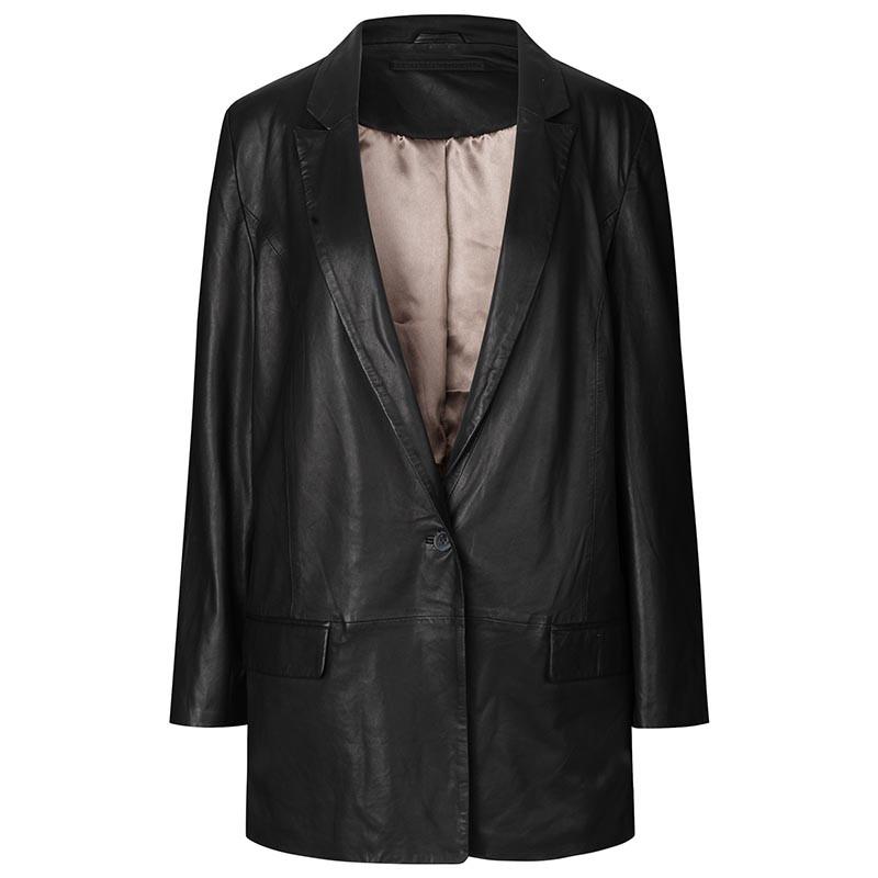 MDK Blazer, Coco Thin Leather Blazer, Black Skind blazer Skind blazer