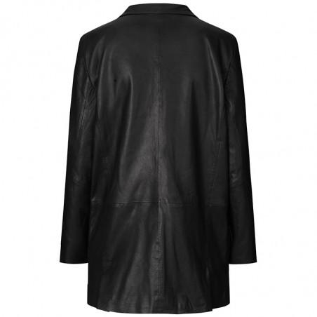 MDK Blazer, Coco Thin Leather Blazer, Black Skind blazer Skind blazer ryg