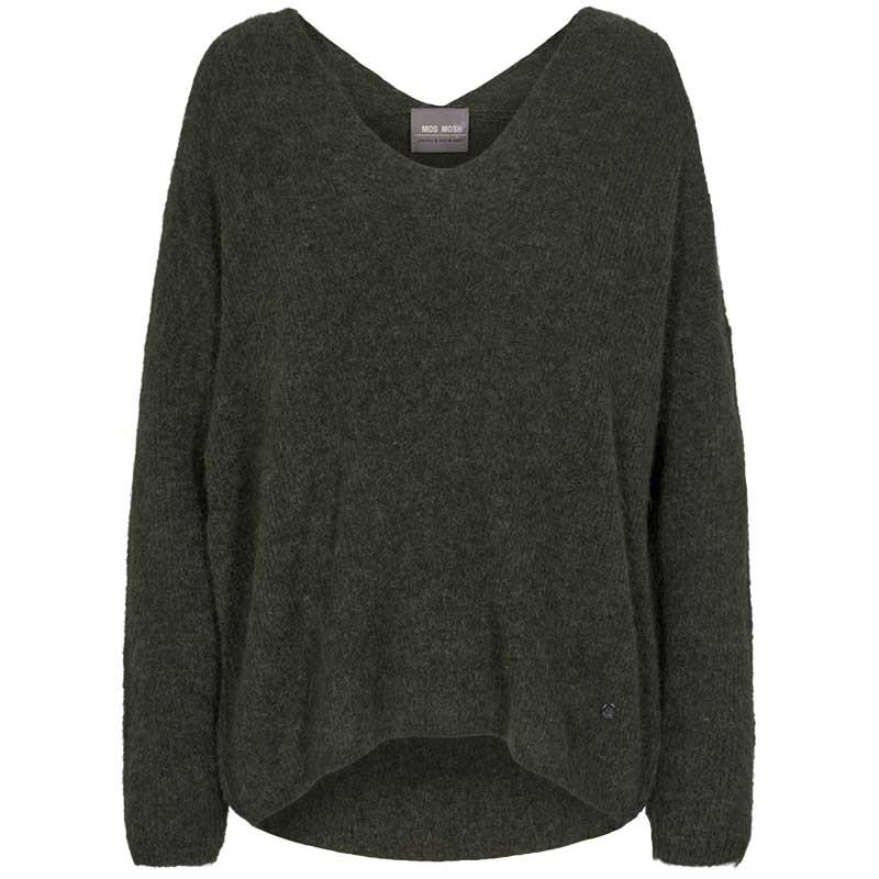 Mos Mosh Strik, Thora V-neck, Grape Leaf, Sweater, Trøje, Uld og Alpaka, V-halsudskæring