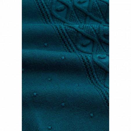 King Louie Bluse, Cable Top Droplet, Orient Blue, Strik, Trøje, Pullover, Petrol, Blå, Detalje