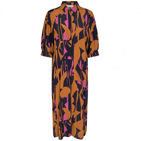 Nümph Kjole, Nucynara dress, Dark Sapphire, Forfra, Print