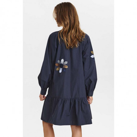 Nümph Kjole, Nubelinde dress, Dark Sapphire, model bagside