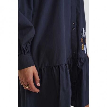 Nümph Kjole, Nubelinde dress, Dark Sapphire, detaljer ærmer